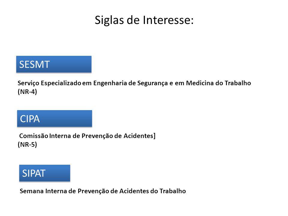 SESMT CIPA SIPAT Siglas de Interesse: Serviço Especializado em Engenharia de Segurança e em Medicina do Trabalho (NR-4) Comissão Interna de Prevenção