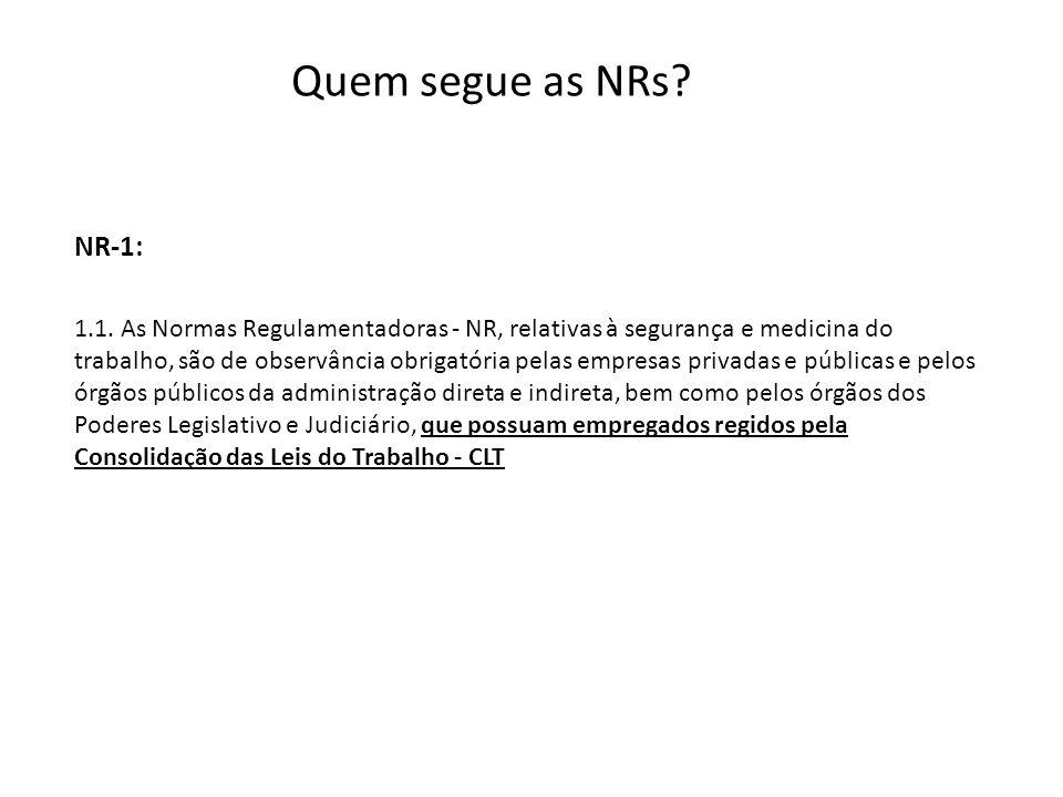 Quem segue as NRs? 1.1. As Normas Regulamentadoras - NR, relativas à segurança e medicina do trabalho, são de observância obrigatória pelas empresas p