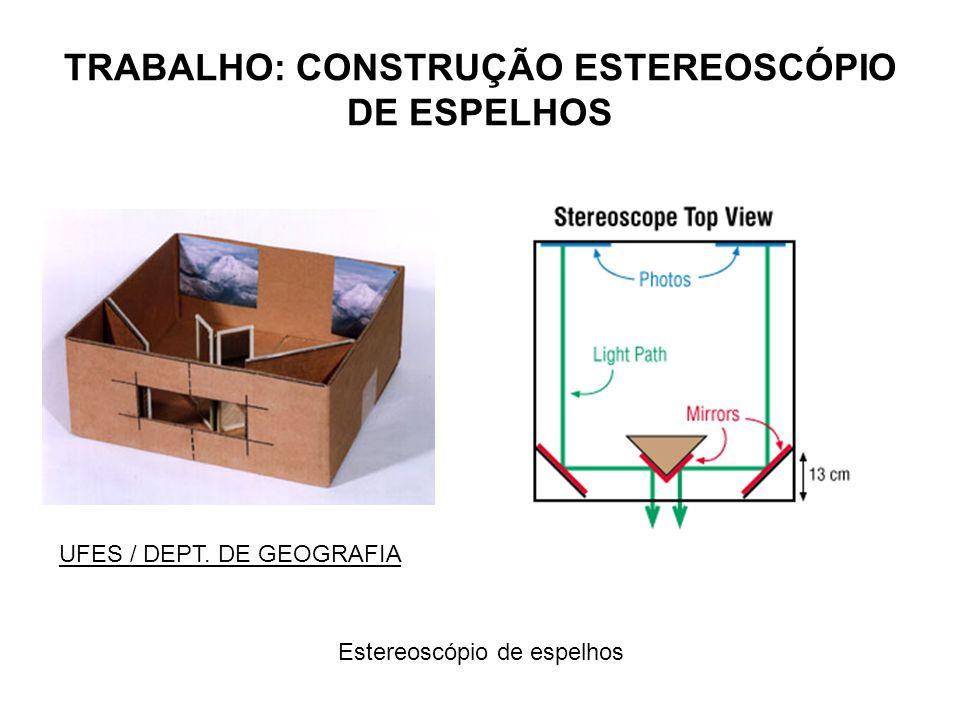 TRABALHO: CONSTRUÇÃO ESTEREOSCÓPIO DE ESPELHOS Estereoscópio de espelhos UFES / DEPT. DE GEOGRAFIA