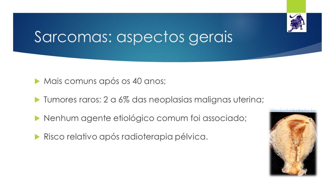 Sarcomas: aspectos gerais  Mais comuns após os 40 anos;  Tumores raros: 2 a 6% das neoplasias malignas uterina;  Nenhum agente etiológico comum foi