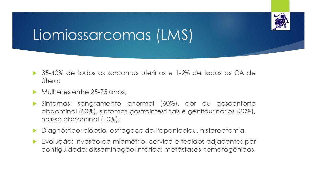 Liomiossarcomas (LMS)  35-40% de todos os sarcomas uterinos e 1-2% de todos os CA de útero;  Mulheres entre 25-75 anos;  Sintomas: sangramento anor