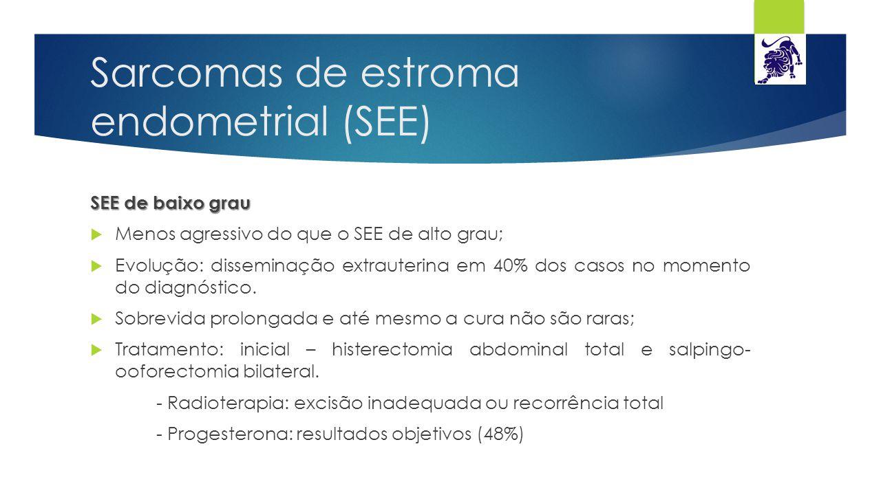 Sarcomas de estroma endometrial (SEE) SEE de baixo grau  Menos agressivo do que o SEE de alto grau;  Evolução: disseminação extrauterina em 40% dos