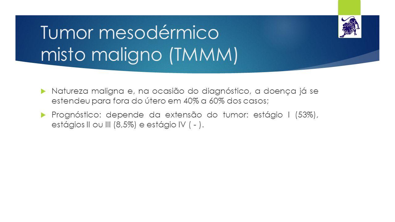 Tumor mesodérmico misto maligno (TMMM)  Natureza maligna e, na ocasião do diagnóstico, a doença já se estendeu para fora do útero em 40% a 60% dos ca