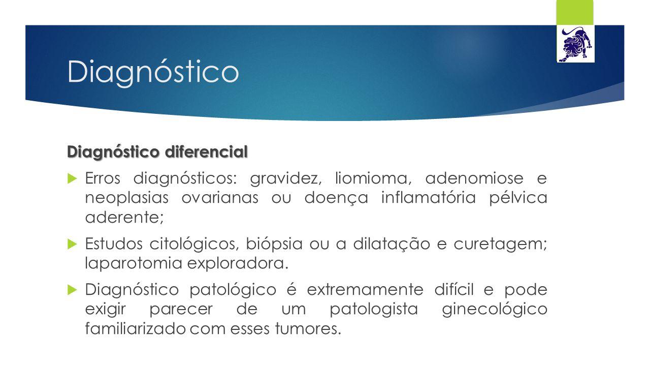 Diagnóstico Diagnóstico diferencial  Erros diagnósticos: gravidez, liomioma, adenomiose e neoplasias ovarianas ou doença inflamatória pélvica aderent