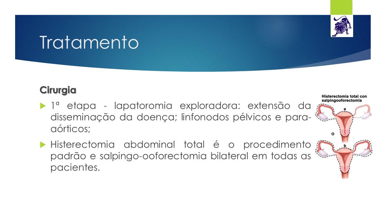 Tratamento Cirurgia  1ª etapa - lapatoromia exploradora: extensão da disseminação da doença; linfonodos pélvicos e para- aórticos;  Histerectomia ab