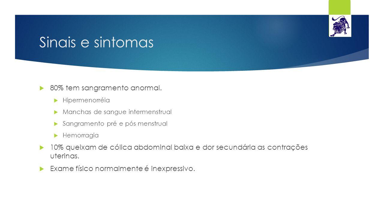 Sinais e sintomas  80% tem sangramento anormal.  Hipermenorréia  Manchas de sangue intermenstrual  Sangramento pré e pós menstrual  Hemorragia 