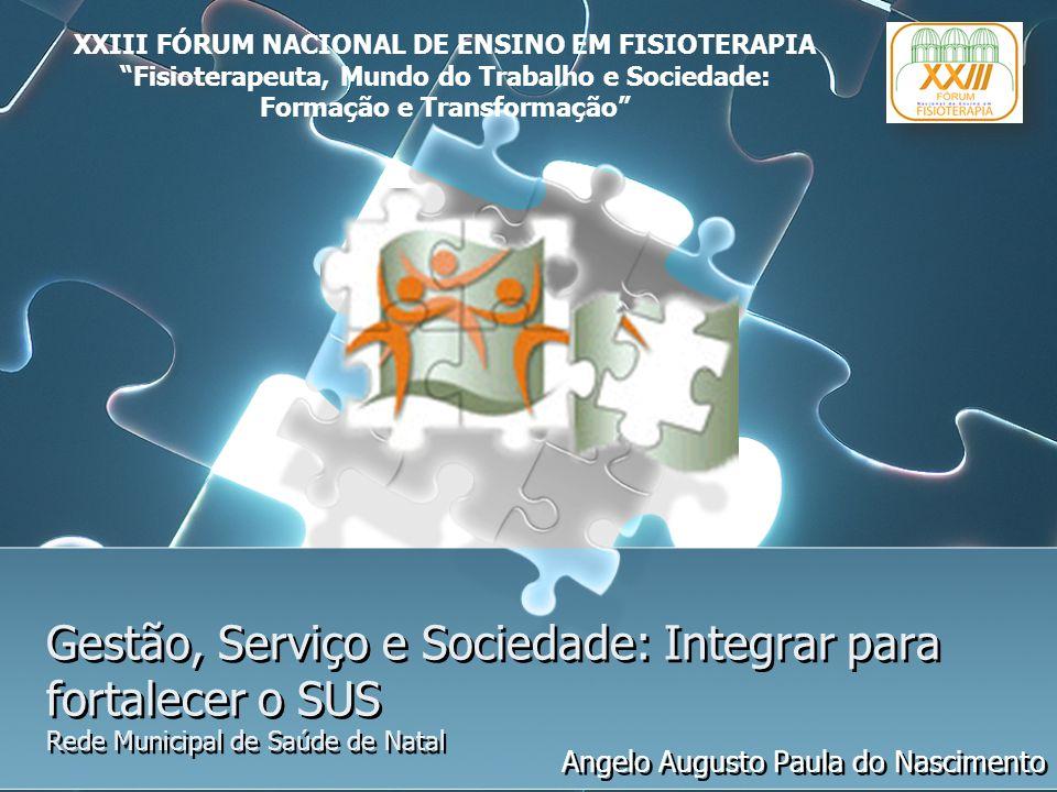 Gestão, Serviço e Sociedade: Integrar para fortalecer o SUS Rede Municipal de Saúde de Natal Angelo Augusto Paula do Nascimento XXIII FÓRUM NACIONAL D
