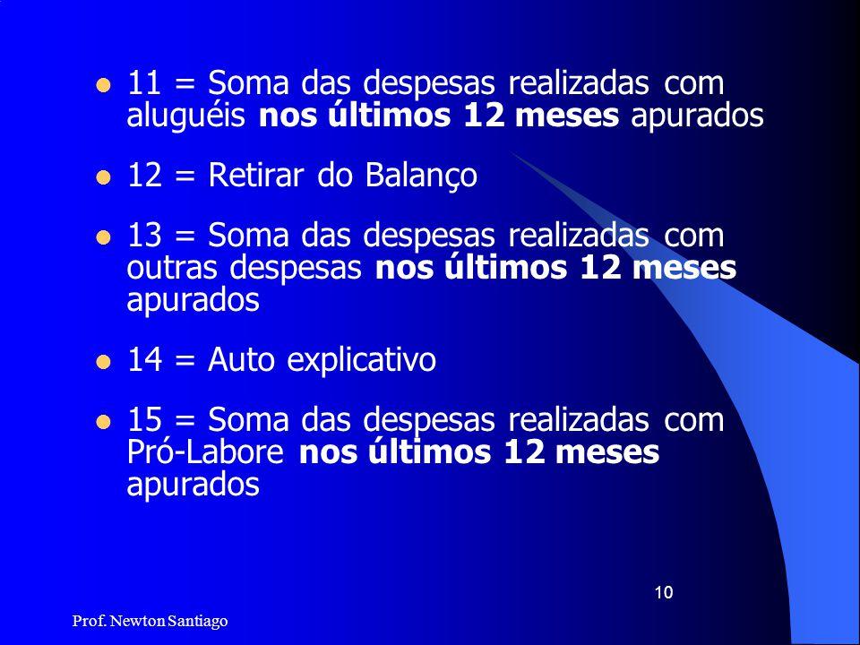 Prof. Newton Santiago 10  11 = Soma das despesas realizadas com aluguéis nos últimos 12 meses apurados  12 = Retirar do Balanço  13 = Soma das desp