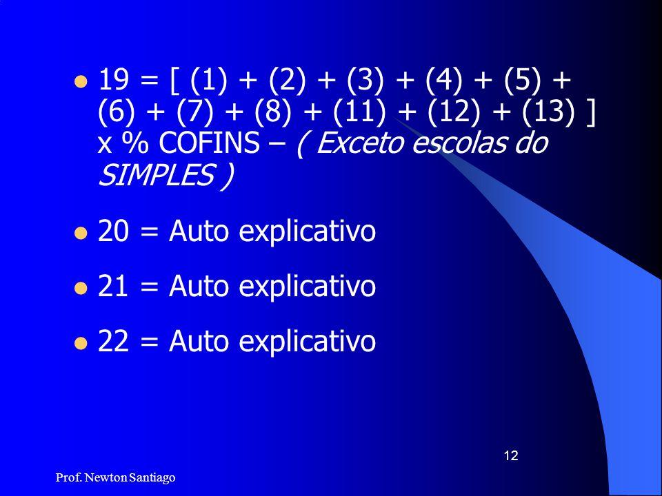 Prof. Newton Santiago 12  19 = [ (1) + (2) + (3) + (4) + (5) + (6) + (7) + (8) + (11) + (12) + (13) ] x % COFINS – ( Exceto escolas do SIMPLES )  20
