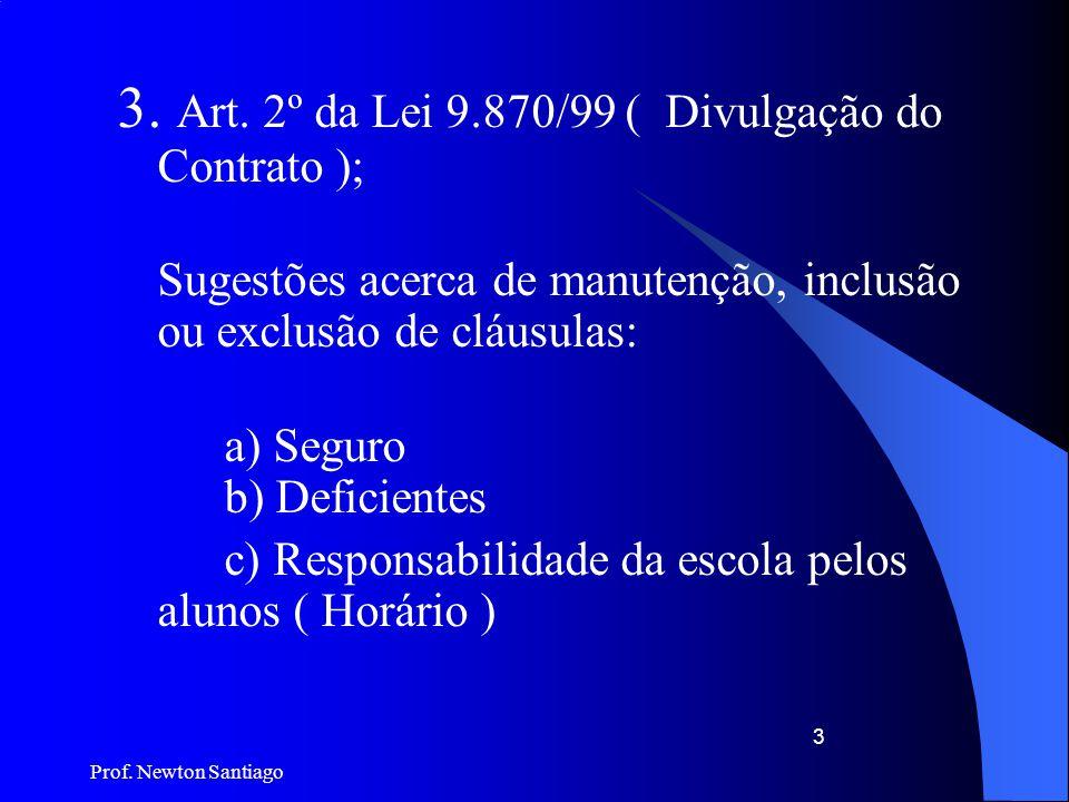 Prof. Newton Santiago 3 3. Art. 2º da Lei 9.870/99 ( Divulgação do Contrato ); Sugestões acerca de manutenção, inclusão ou exclusão de cláusulas: a) S