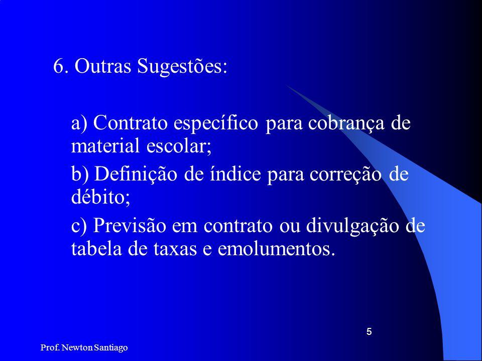 Prof. Newton Santiago 5 6. Outras Sugestões: a) Contrato específico para cobrança de material escolar; b) Definição de índice para correção de débito;