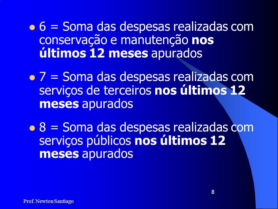 Prof. Newton Santiago 8  6 = Soma das despesas realizadas com conservação e manutenção nos últimos 12 meses apurados  7 = Soma das despesas realizad