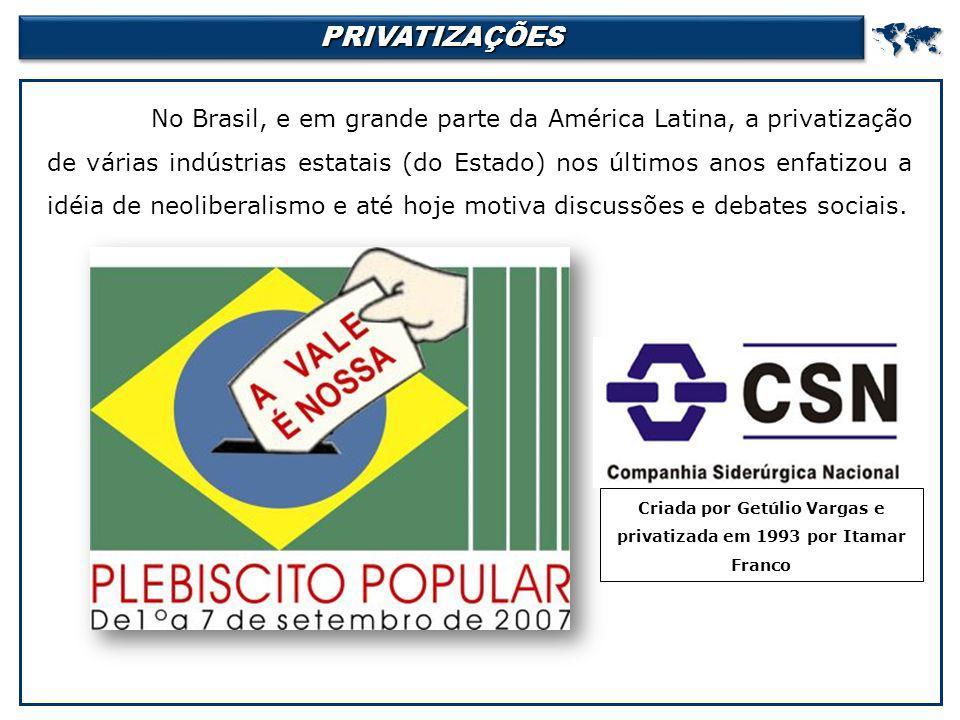 PRIVATIZAÇÕESPRIVATIZAÇÕES No Brasil, e em grande parte da América Latina, a privatização de várias indústrias estatais (do Estado) nos últimos anos