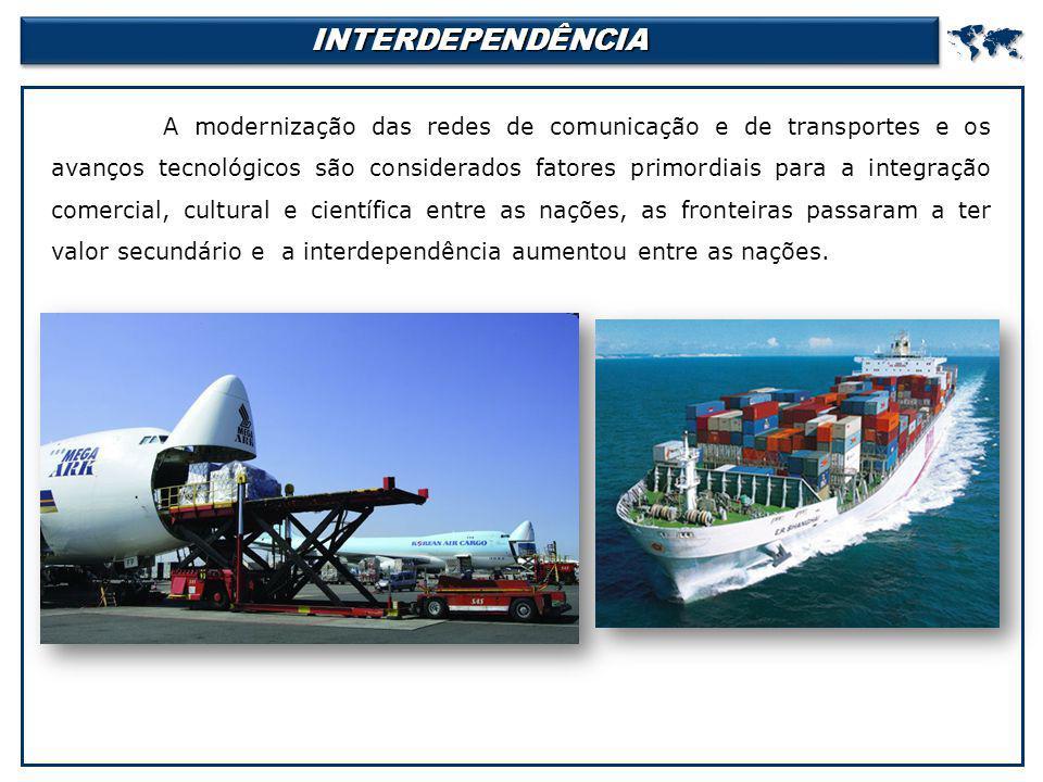 INTERDEPENDÊNCIAINTERDEPENDÊNCIA A modernização das redes de comunicação e de transportes e os avanços tecnológicos são considerados fatores primordi