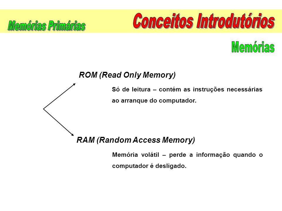 Só de leitura – contém as instruções necessárias ao arranque do computador. Memória volátil – perde a informação quando o computador é desligado. ROM