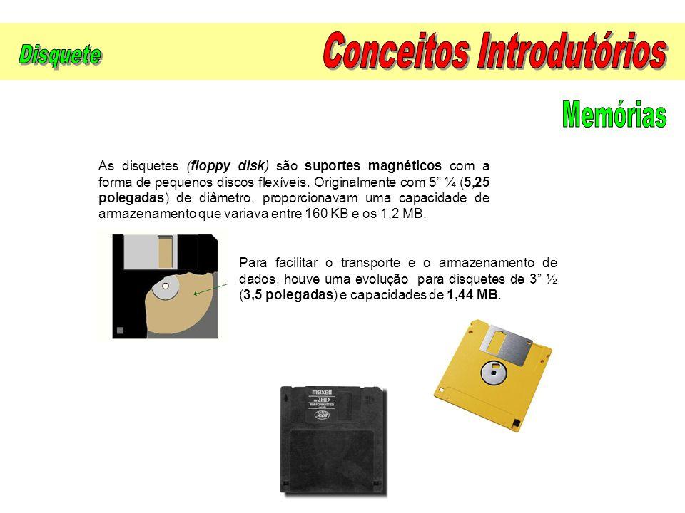 """As disquetes (floppy disk) são suportes magnéticos com a forma de pequenos discos flexíveis. Originalmente com 5"""" ¼ (5,25 polegadas) de diâmetro, prop"""