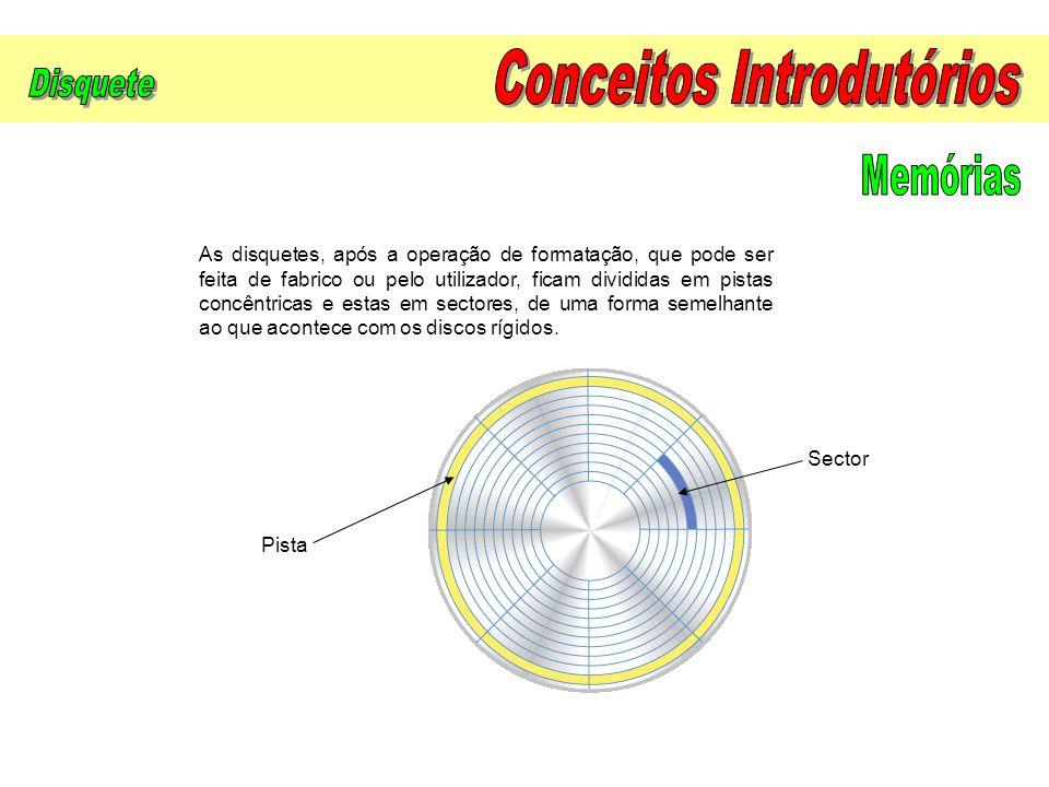 As disquetes, após a operação de formatação, que pode ser feita de fabrico ou pelo utilizador, ficam divididas em pistas concêntricas e estas em secto