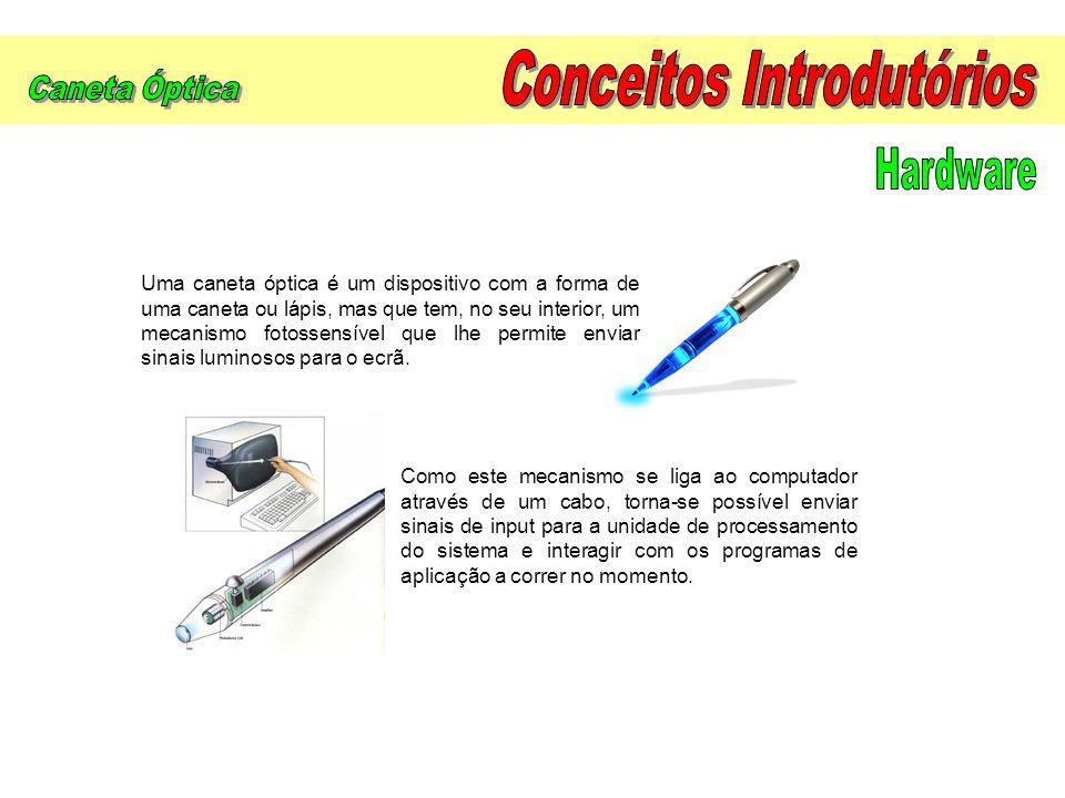 Uma caneta óptica é um dispositivo com a forma de uma caneta ou lápis, mas que tem, no seu interior, um mecanismo fotossensível que lhe permite enviar