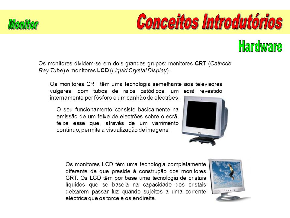 Os monitores dividem-se em dois grandes grupos: monitores CRT (Cathode Ray Tube) e monitores LCD (Liquid Crystal Display).