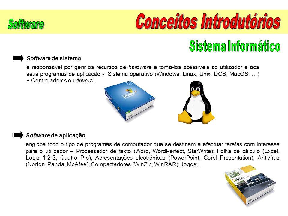 Software de aplicação engloba todo o tipo de programas de computador que se destinam a efectuar tarefas com interesse para o utilizador – Processador
