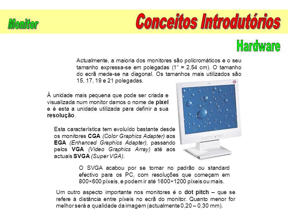 """Actualmente, a maioria dos monitores são policromáticos e o seu tamanho expressa-se em polegadas (1"""" = 2,54 cm). O tamanho do ecrã mede-se na diagonal"""
