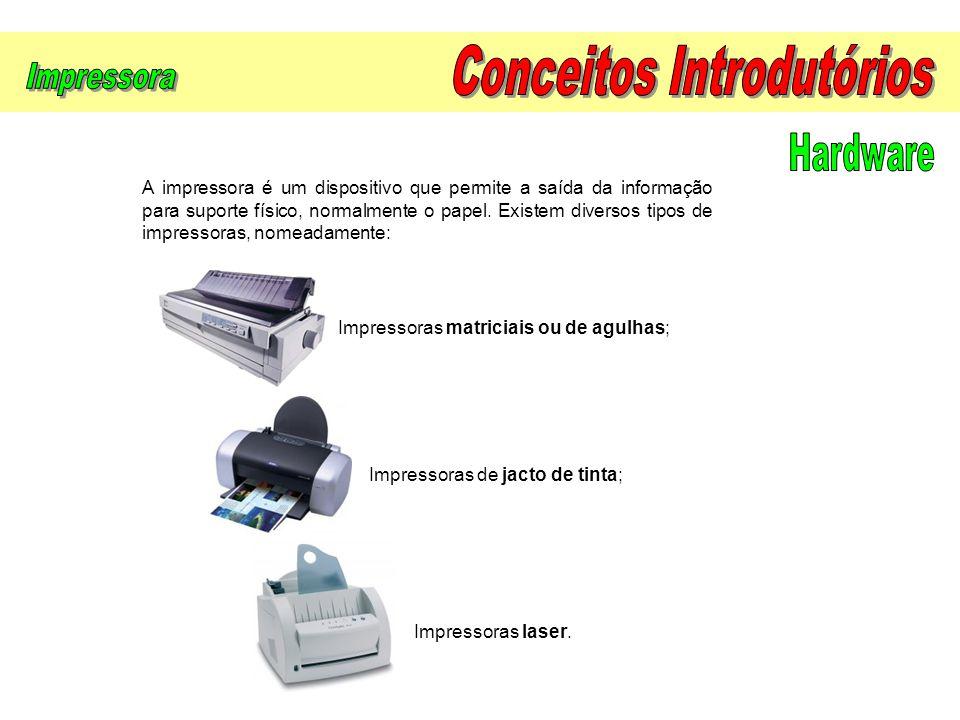 A impressora é um dispositivo que permite a saída da informação para suporte físico, normalmente o papel. Existem diversos tipos de impressoras, nomea