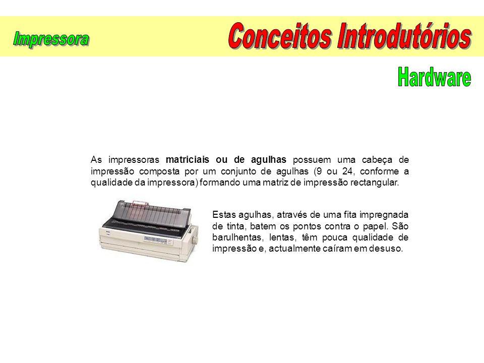 As impressoras matriciais ou de agulhas possuem uma cabeça de impressão composta por um conjunto de agulhas (9 ou 24, conforme a qualidade da impresso