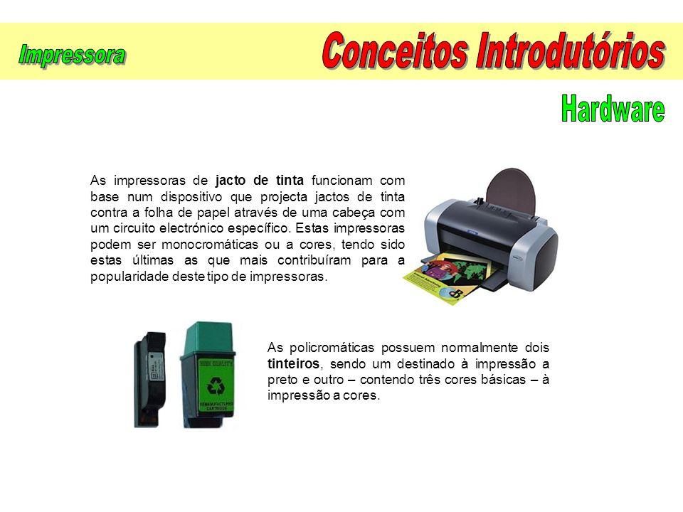 As impressoras de jacto de tinta funcionam com base num dispositivo que projecta jactos de tinta contra a folha de papel através de uma cabeça com um