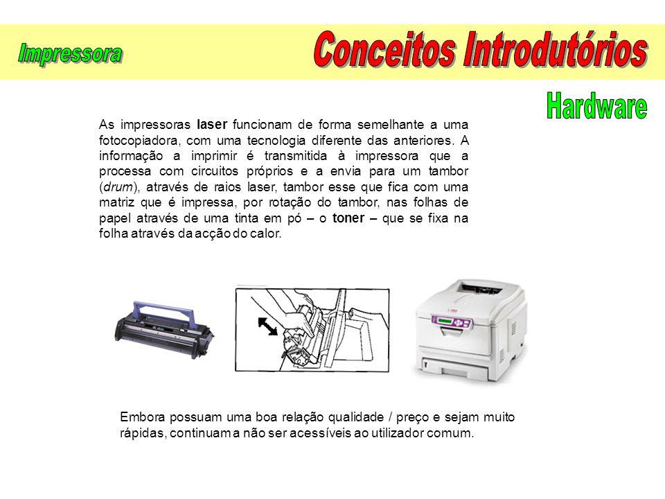 As impressoras laser funcionam de forma semelhante a uma fotocopiadora, com uma tecnologia diferente das anteriores. A informação a imprimir é transmi