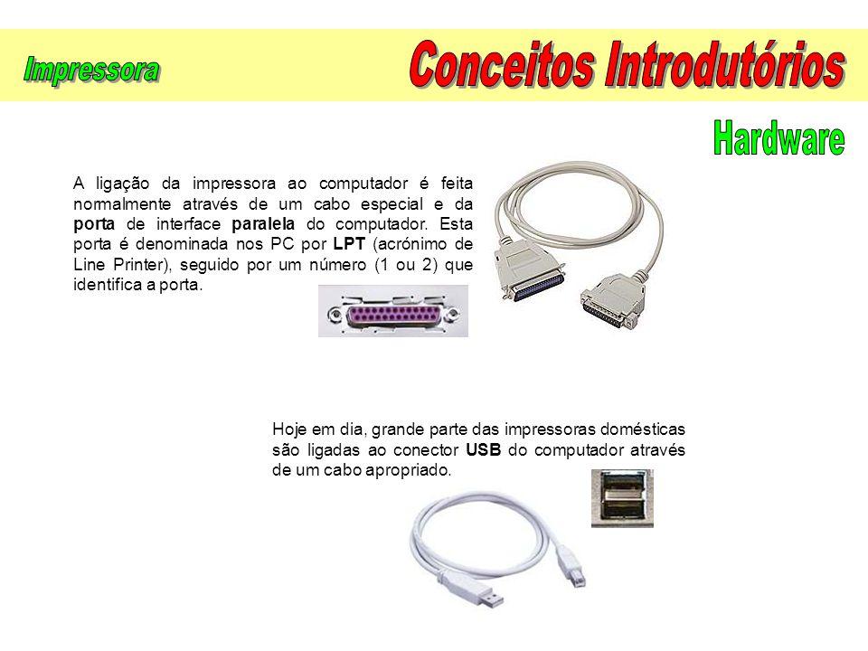 A ligação da impressora ao computador é feita normalmente através de um cabo especial e da porta de interface paralela do computador. Esta porta é den