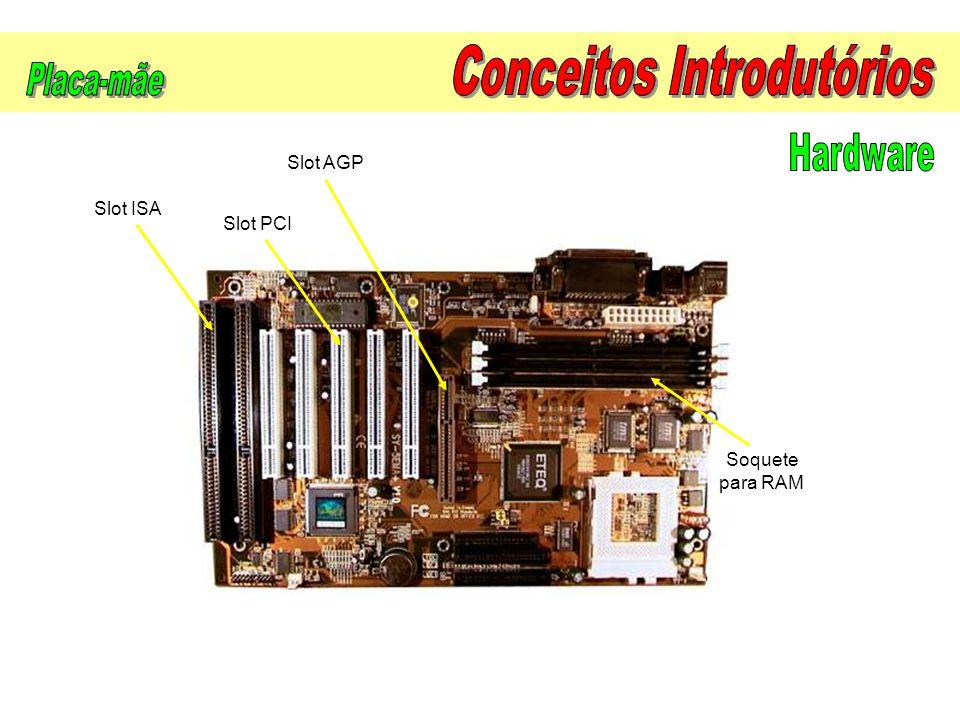 Slot PCI Slot AGP Slot ISA Soquete para RAM