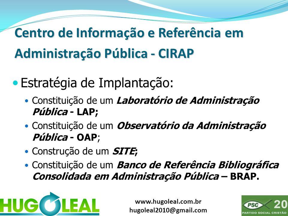www.hugoleal.com.br hugoleal2010@gmail.com Centro de Informação e Referência em Administração Pública - CIRAP  Estratégia de Implantação:  Constitui