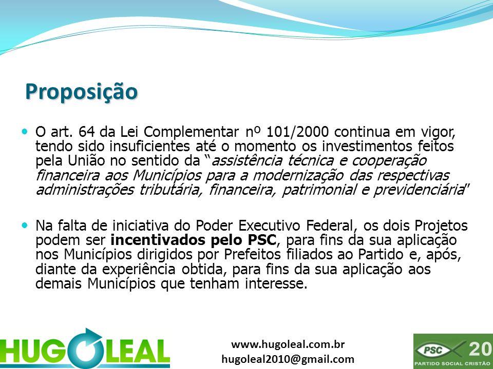 www.hugoleal.com.br hugoleal2010@gmail.com Proposição  O art. 64 da Lei Complementar nº 101/2000 continua em vigor, tendo sido insuficientes até o mo