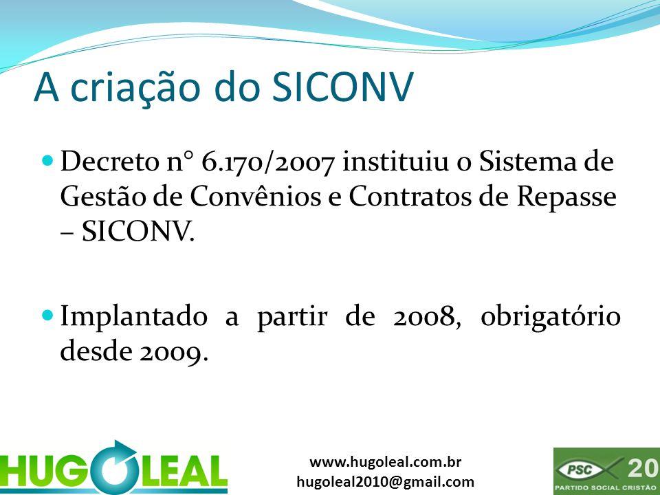 www.hugoleal.com.br hugoleal2010@gmail.com A criação do SICONV  Decreto n° 6.170/2007 instituiu o Sistema de Gestão de Convênios e Contratos de Repas