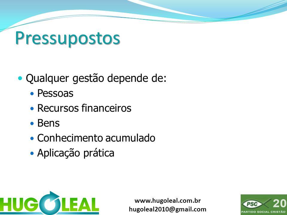 www.hugoleal.com.br hugoleal2010@gmail.com Pressupostos  Qualquer gestão depende de:  Pessoas  Recursos financeiros  Bens  Conhecimento acumulado  Aplicação prática