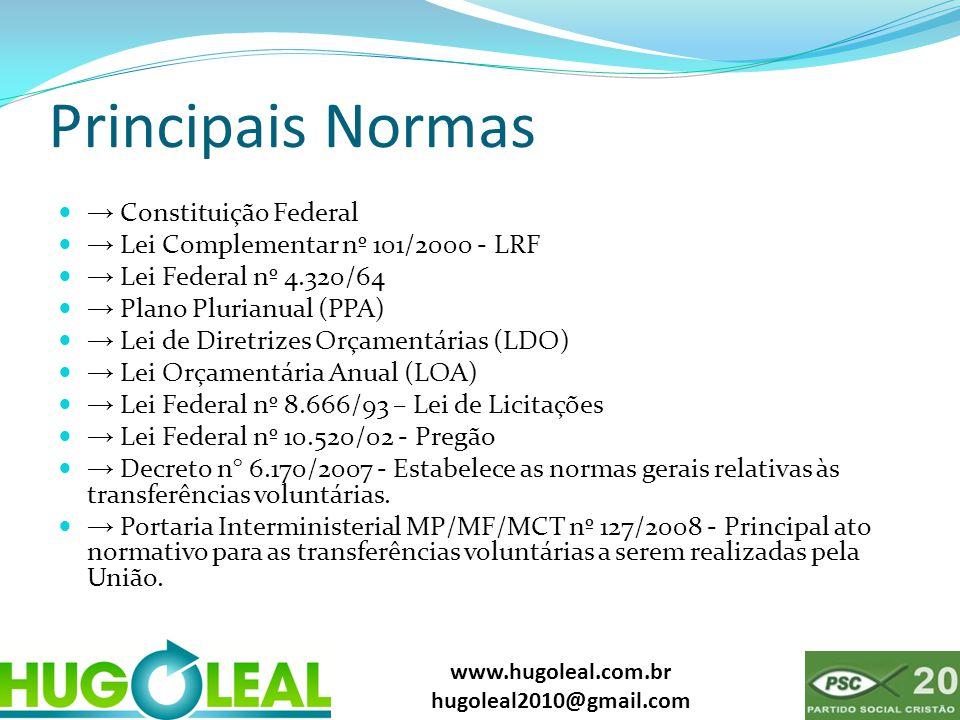 www.hugoleal.com.br hugoleal2010@gmail.com Principais Normas  → Constituição Federal  → Lei Complementar nº 101/2000 - LRF  → Lei Federal nº 4.320/
