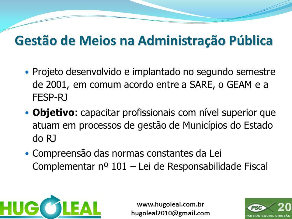 www.hugoleal.com.br hugoleal2010@gmail.com Gestão de Meios na Administração Pública  Projeto desenvolvido e implantado no segundo semestre de 2001, e
