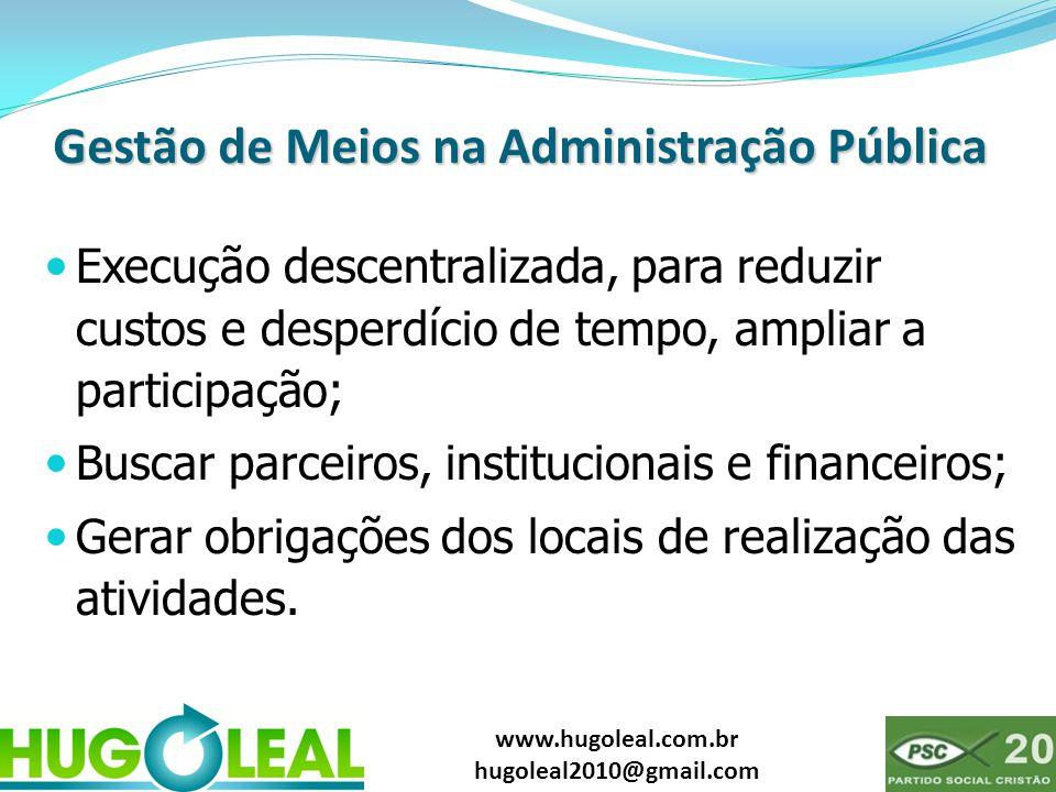www.hugoleal.com.br hugoleal2010@gmail.com Gestão de Meios na Administração Pública  Execução descentralizada, para reduzir custos e desperdício de t