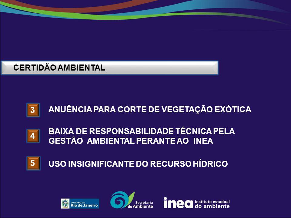 CERTIDÃO AMBIENTAL 3 ANUÊNCIA PARA CORTE DE VEGETAÇÃO EXÓTICA 4 BAIXA DE RESPONSABILIDADE TÉCNICA PELA GESTÃO AMBIENTAL PERANTE AO INEA 5 USO INSIGNIF
