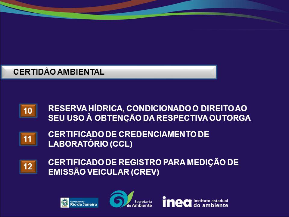 CERTIDÃO AMBIENTAL 10 RESERVA HÍDRICA, CONDICIONADO O DIREITO AO SEU USO À OBTENÇÃO DA RESPECTIVA OUTORGA 11 CERTIFICADO DE CREDENCIAMENTO DE LABORATÓ