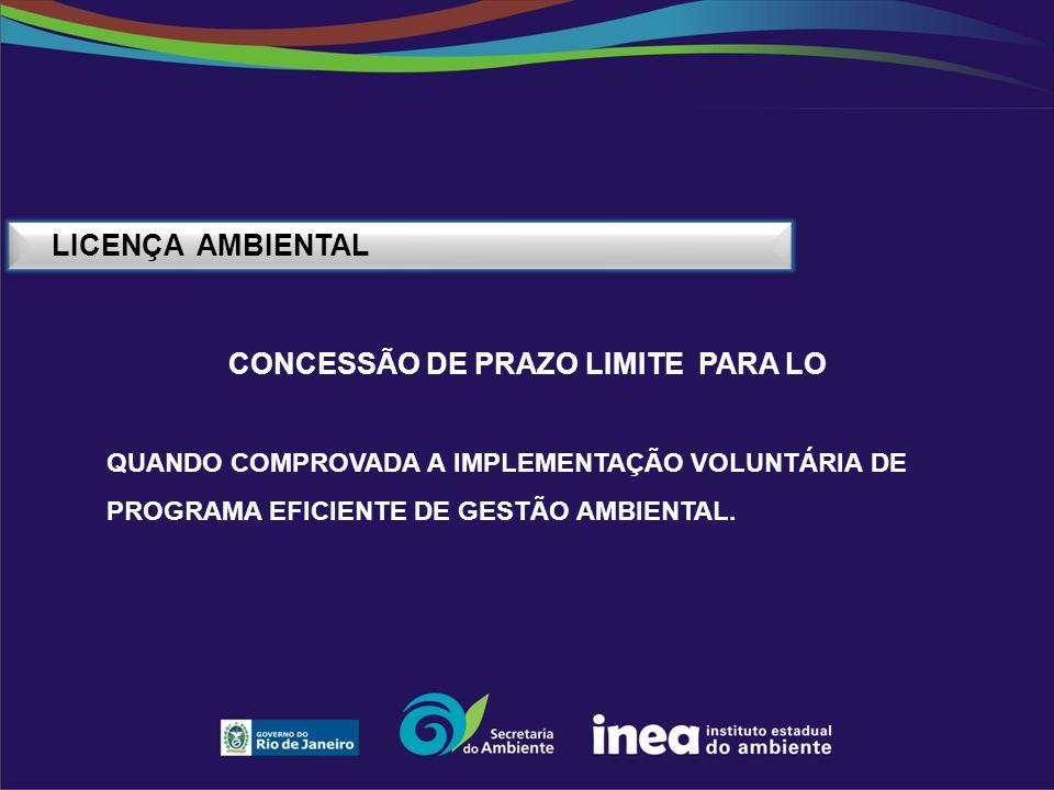 LICENÇA AMBIENTAL CONCESSÃO DE PRAZO LIMITE PARA LO QUANDO COMPROVADA A IMPLEMENTAÇÃO VOLUNTÁRIA DE PROGRAMA EFICIENTE DE GESTÃO AMBIENTAL.