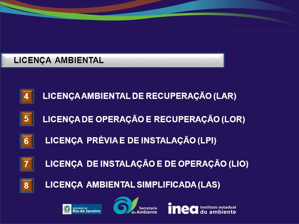 LICENÇA AMBIENTAL 4 LICENÇA AMBIENTAL DE RECUPERAÇÃO (LAR) 5 LICENÇA DE OPERAÇÃO E RECUPERAÇÃO (LOR) 6 LICENÇA PRÉVIA E DE INSTALAÇÃO (LPI) 7 LICENÇA
