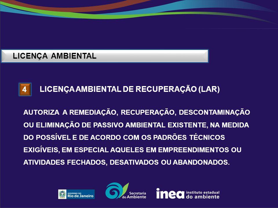 LICENÇA AMBIENTAL 4 LICENÇA AMBIENTAL DE RECUPERAÇÃO (LAR) AUTORIZA A REMEDIAÇÃO, RECUPERAÇÃO, DESCONTAMINAÇÃO OU ELIMINAÇÃO DE PASSIVO AMBIENTAL EXIS