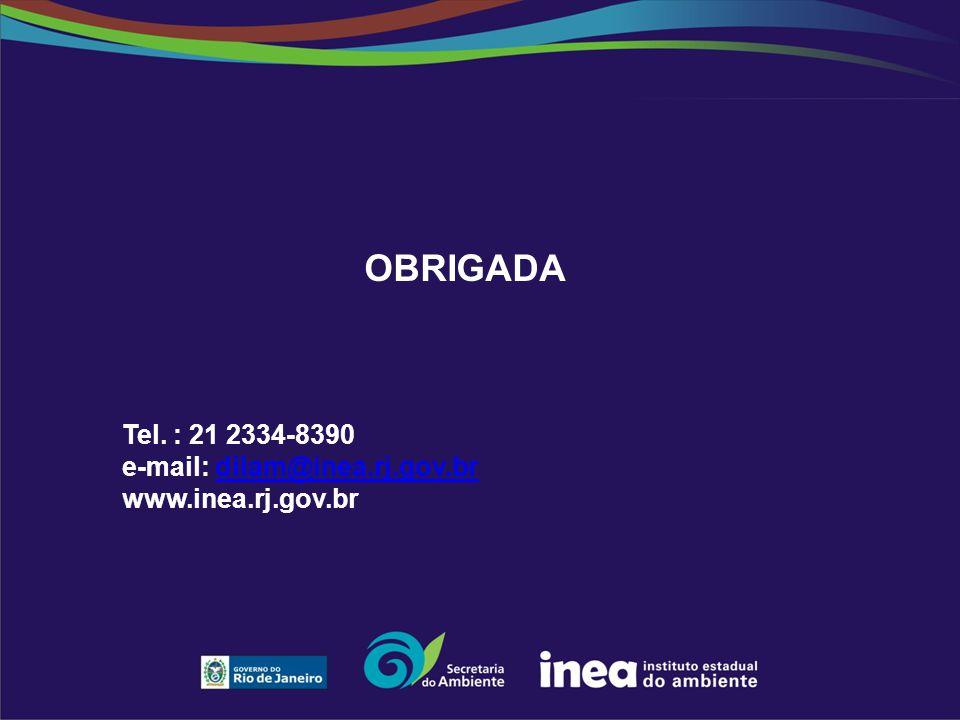 OBRIGADA Tel. : 21 2334-8390 e-mail: dilam@inea.rj.gov.brdilam@inea.rj.gov.br www.inea.rj.gov.br