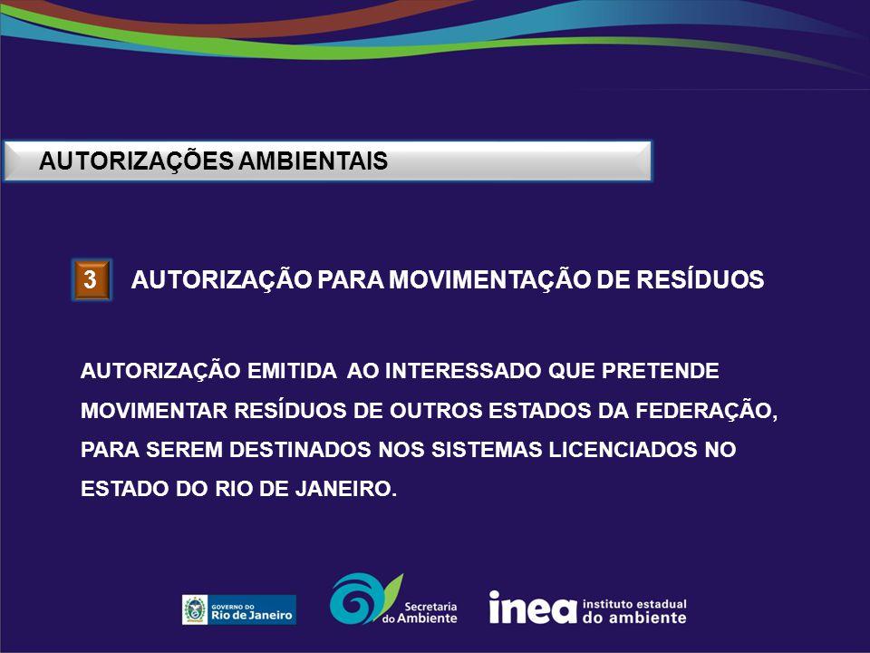 AUTORIZAÇÕES AMBIENTAIS 3 AUTORIZAÇÃO PARA MOVIMENTAÇÃO DE RESÍDUOS AUTORIZAÇÃO EMITIDA AO INTERESSADO QUE PRETENDE MOVIMENTAR RESÍDUOS DE OUTROS ESTA
