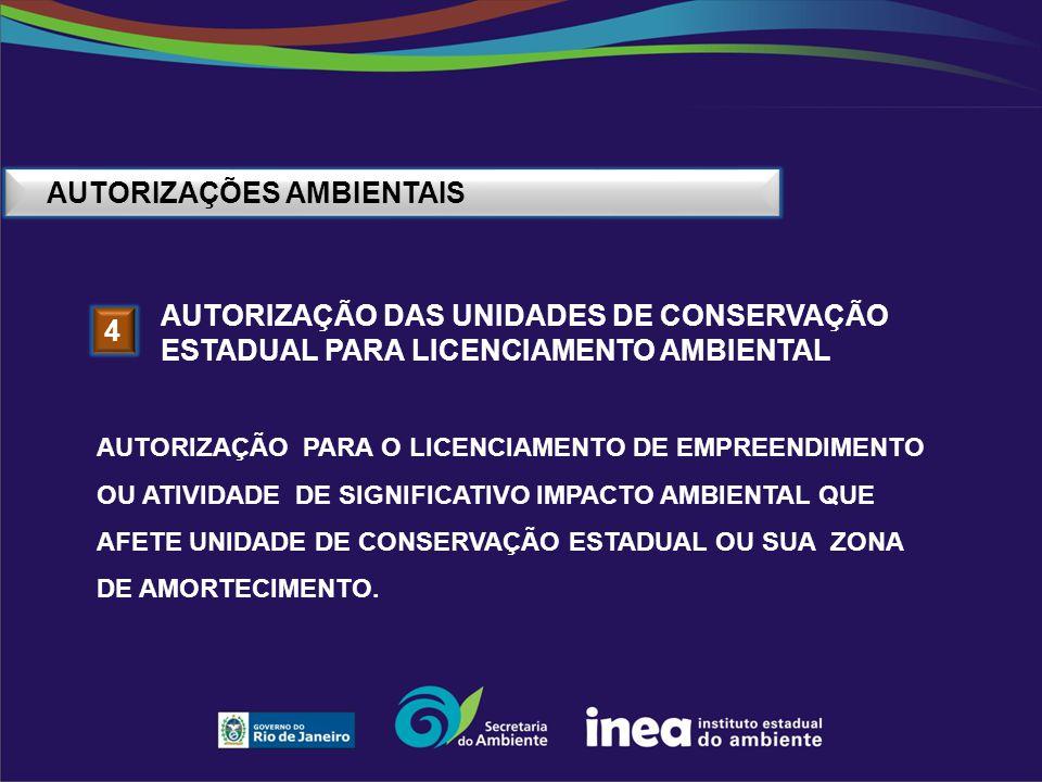 AUTORIZAÇÕES AMBIENTAIS 4 AUTORIZAÇÃO DAS UNIDADES DE CONSERVAÇÃO ESTADUAL PARA LICENCIAMENTO AMBIENTAL AUTORIZAÇÃO PARA O LICENCIAMENTO DE EMPREENDIM