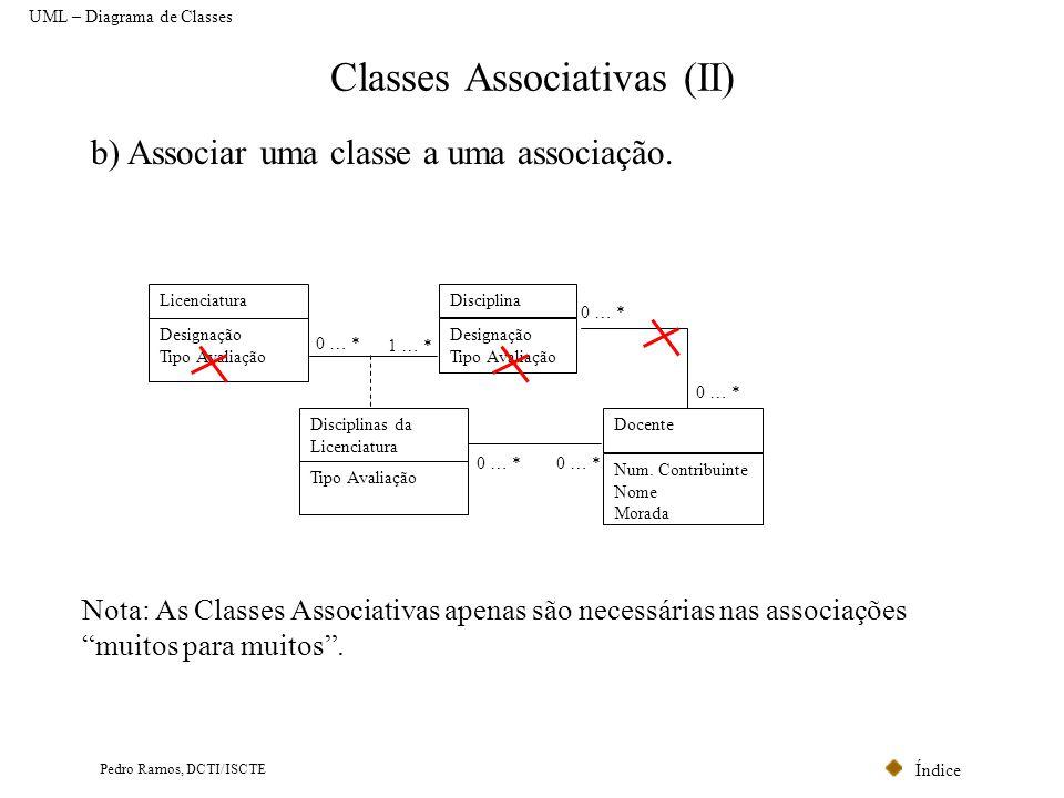 Índice Pedro Ramos, DCTI/ISCTE Classes Associativas (II) b) Associar uma classe a uma associação. Licenciatura Designação Tipo Avaliação Disciplina De