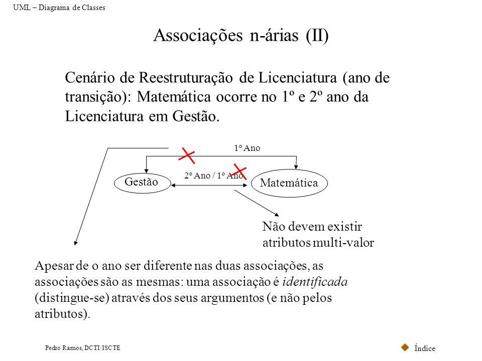 Índice Pedro Ramos, DCTI/ISCTE Associações n-árias (II) Gestão Matemática 2º Ano / 1º Ano Cenário de Reestruturação de Licenciatura (ano de transição)