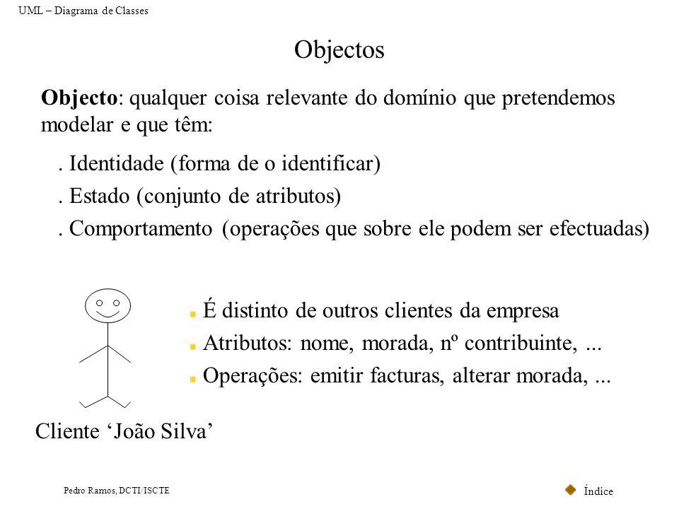 Índice Pedro Ramos, DCTI/ISCTE Classes UML – Diagrama de Classes Classe: conjunto de objectos que partilham o mesmo Mecanismo de Identificação, Estado, Comportamento, Relações e Semântica.
