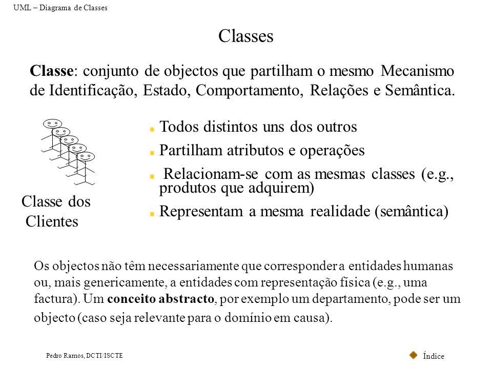 Índice Pedro Ramos, DCTI/ISCTE Classes UML – Diagrama de Classes Classe: conjunto de objectos que partilham o mesmo Mecanismo de Identificação, Estado